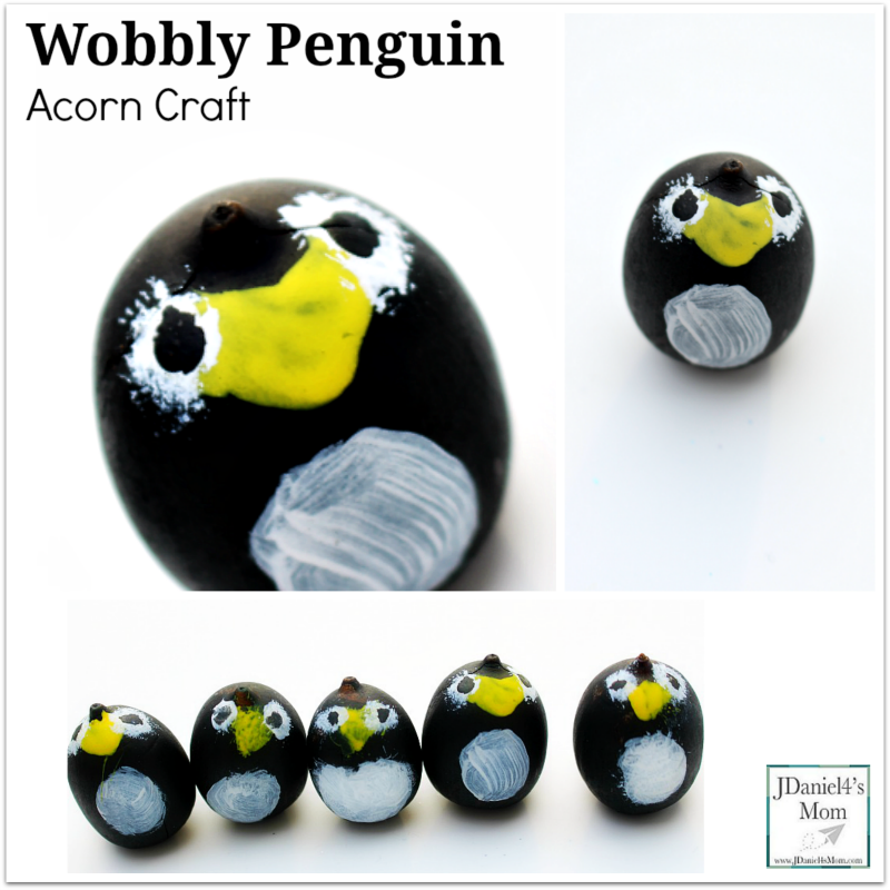 Wobbly Penguin Acorn Craft- There are a variety of way to use the finished craft. Please stop by to see how we used them in activities.