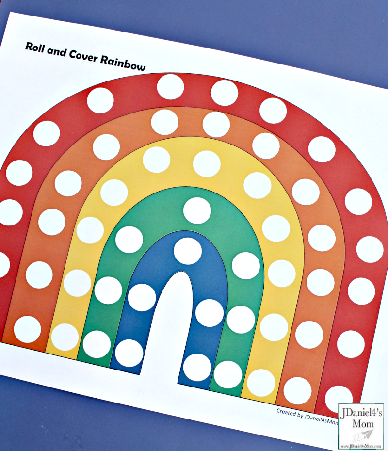 Preschool Color Activities - Roll and Cover Rainbow