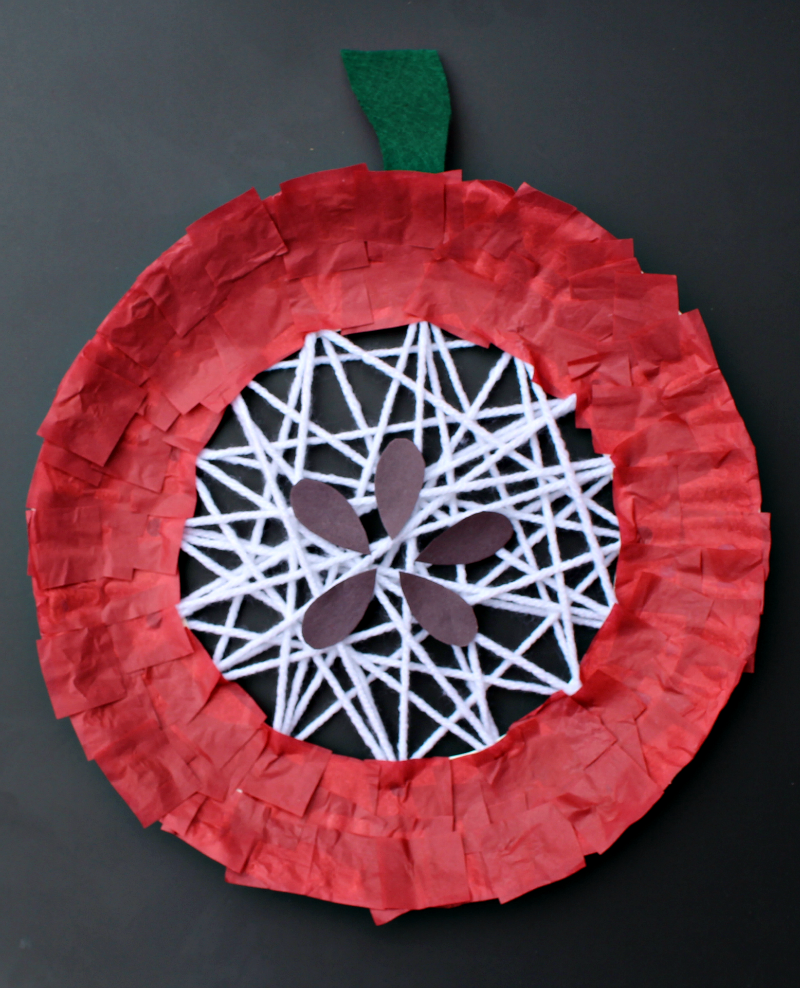 Apple Craft That Works on Fine Motor Skills - Adding Seeds and a Stem