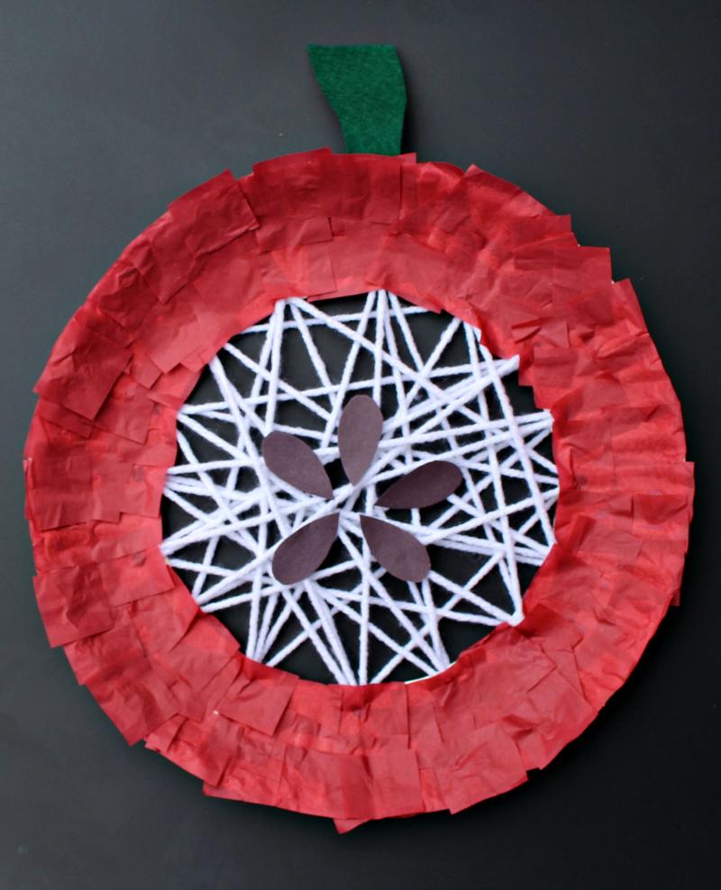 Apple Craft That Works on Fine Motor Skills - Adding Seeds and a Stem