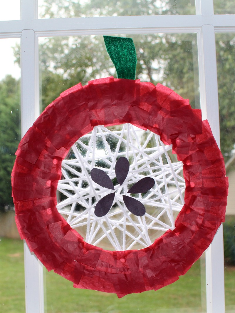 Apple  Craft That Works on Fine Motor Skills- Complete Craft Hanging in a Window