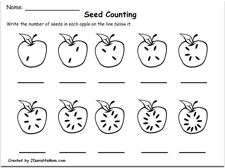 Counting Worksheets 1-10 with an Apple Theme : Counting Seeds
