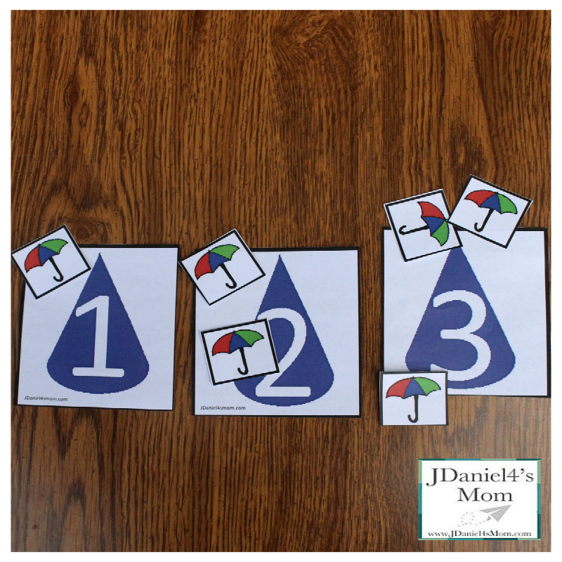 April Showers Printable Numbers for Counting