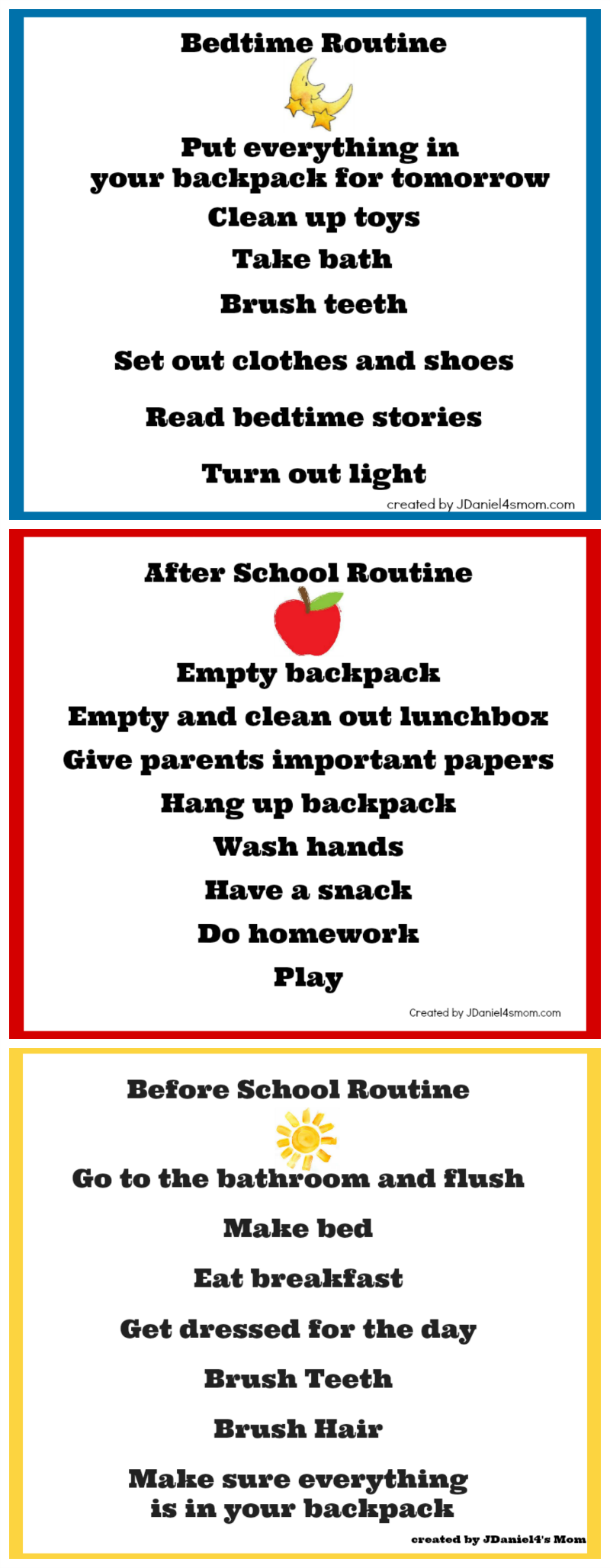 Back To School Chore Charts  Daily Routine Chart Template