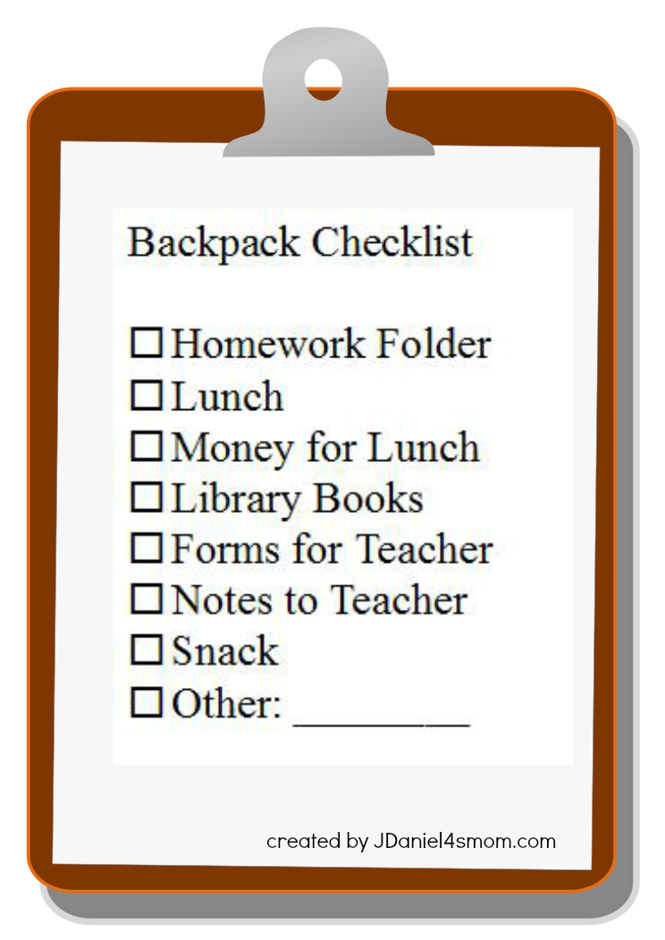 Backpack Checklist