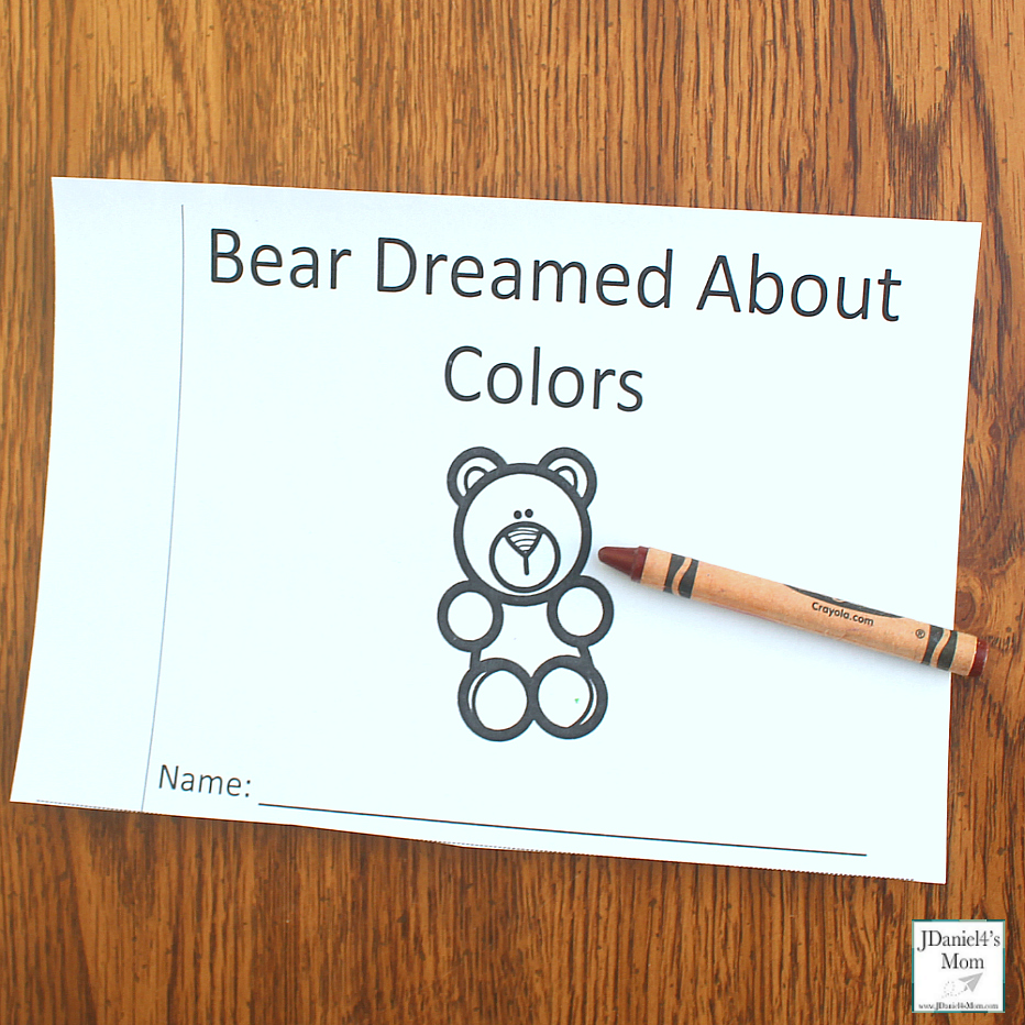 Bear Dream About Colors Printable Book - This printable was created to explore after reading the book Bear Snores On. Children at school or students at school will enjoy this book to color. There is a you color version and a bear is already colored version. This is the cover of the book.