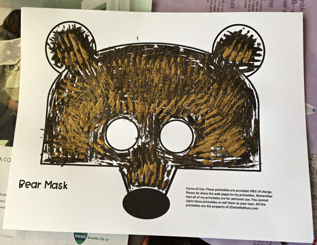 bear mask template painted two