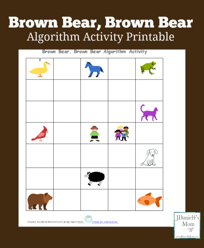 Brown Bear, Brown Bear Algorithm Activity Printable