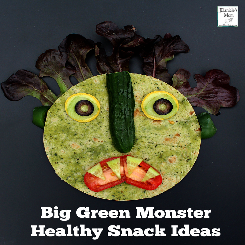 Big Green Monster Snack Ideas - Your children will have fun building this healthy snack with fruits and vegetables.
