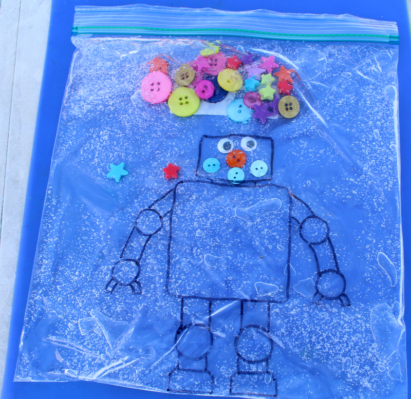 Robot Sensory Bags -Creating a face on the robot.