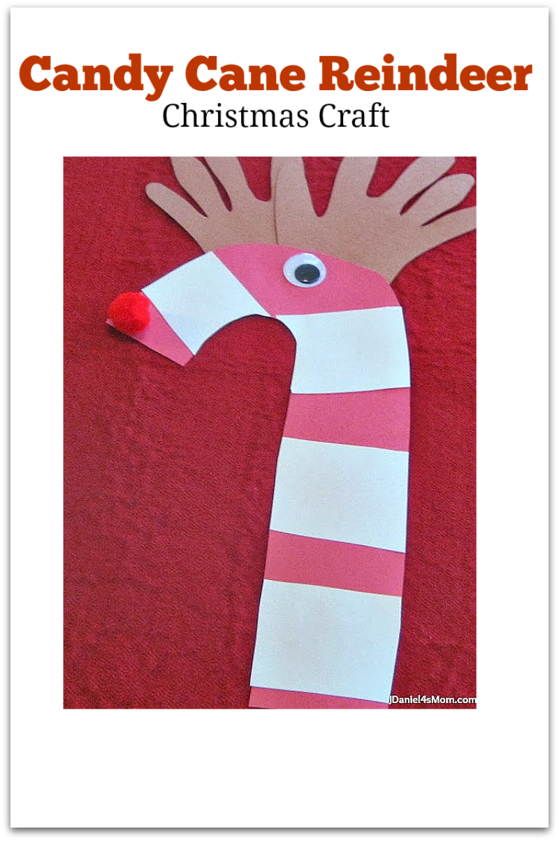 Christmas Craft- Candy Can Reindeer: Kids will love having their hands become reindeer antlers. They will also love the pom pom nose and the wiggly eye.
