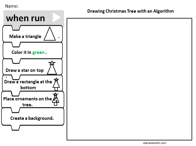 STEM Christmas Coding Drawing a Tree Based on an Algorithm - The second printable worksheet features visual clues as to the shapes and colors children will need to use.