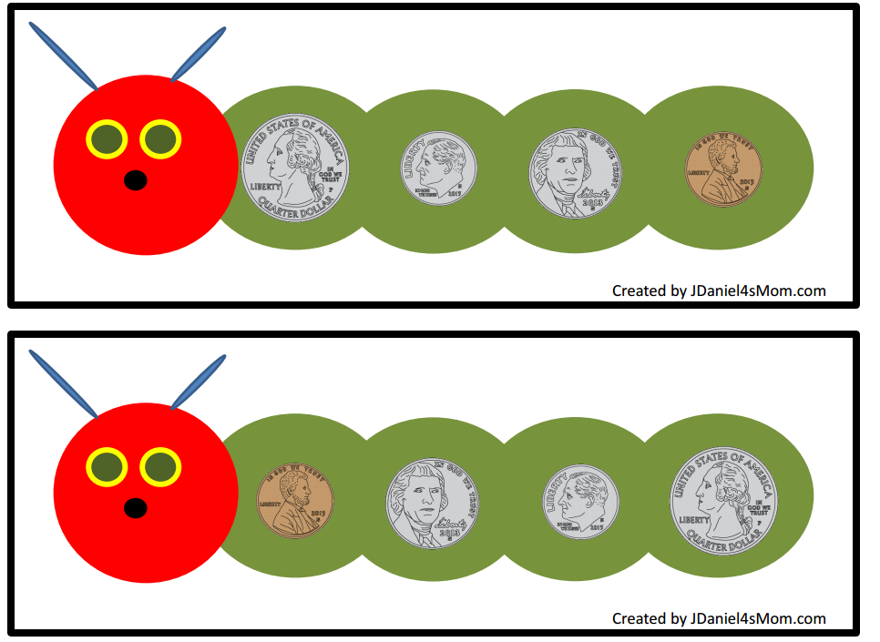 This counting money with caterpillars set would be wonderful to explore after reading the book The Very Hungry Caterpillar. These mats count coins from a penny to a quarter and a quarter to a penny.