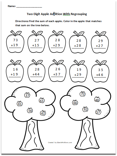 Apple Themed Addition with Regrouping and Without Worksheets - There are some page also have the answers hanging trees at the bottom of the page.