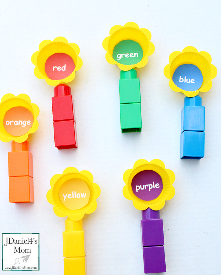 Learning Colors Activities and Printable - We used Mega Bloks and muffin cups along with a free printable. You could have LEGO and a muffin tin if you would like to.