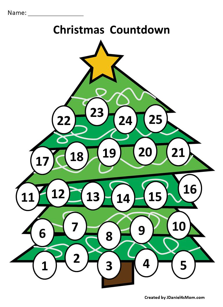 Christmas Countdown Calendar and Activity Set - Colored Tree