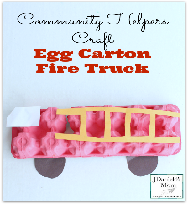 This egg carton fire truck is one of a number of fire engine themed crafts you will find on my blog. This particular community helpers vehicle uses simple materials we all probably have access to.