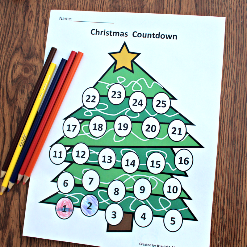 Christmas Countdown Calendar and Activity Set - Colored with Pencils