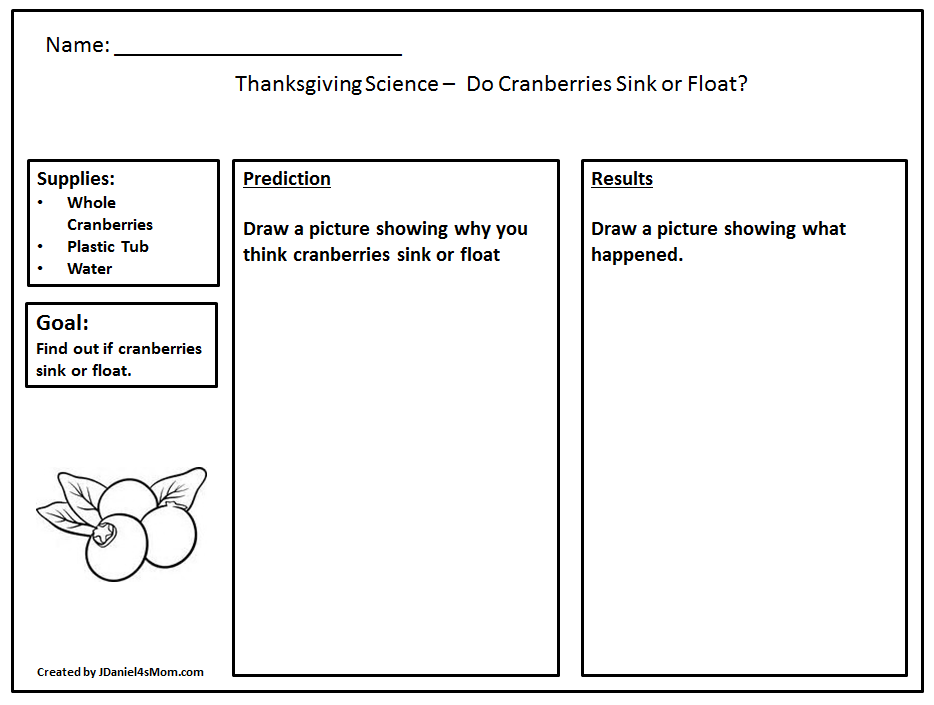 Do Cranberries Sink or Float Thanksgiving Science -Printable