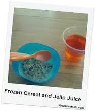 Frozen Milk in Cereal and Jello Juice