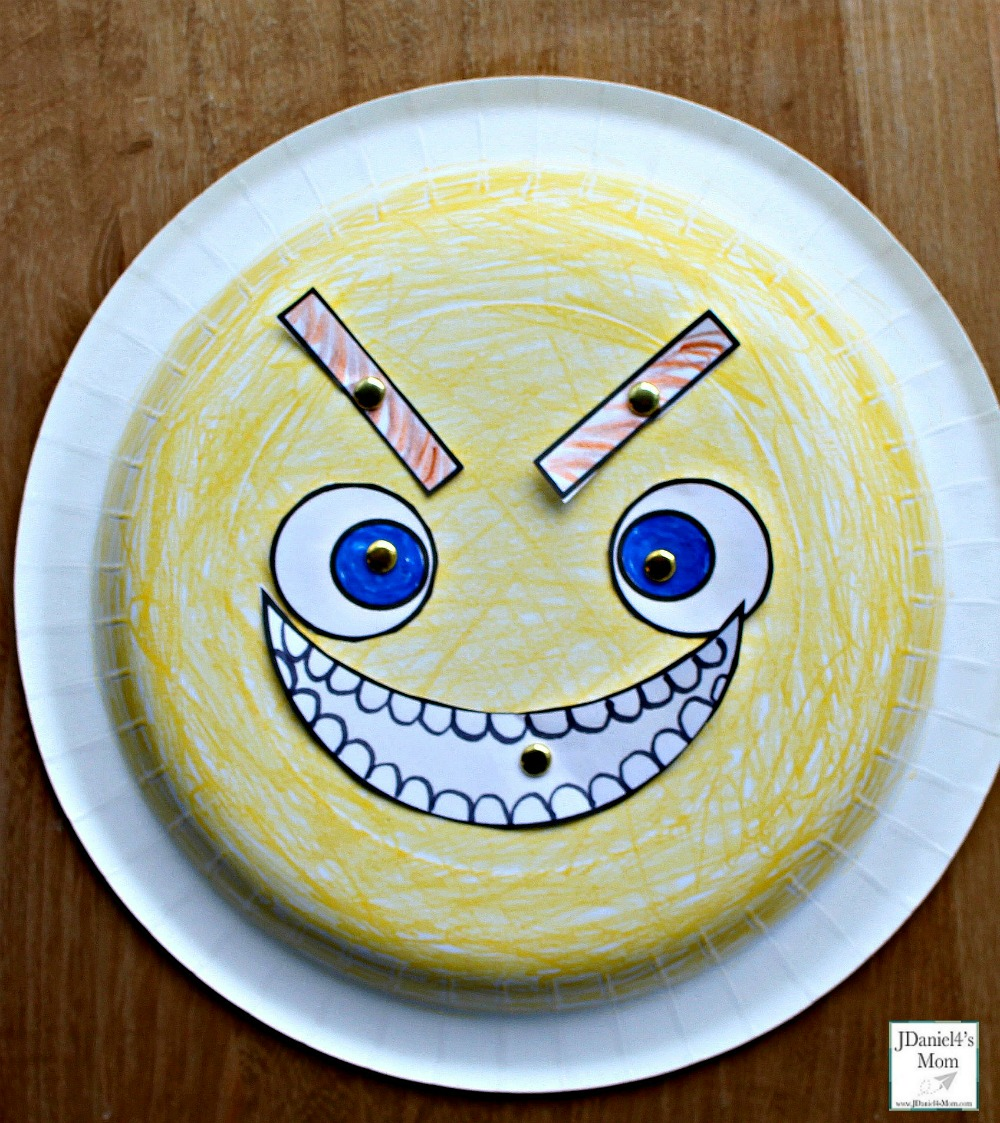 Emoji Feeling Faces Feeling Recognition Activity - The paper plate craft and activity is a fun way for children to learn and understand feelings. Children at home or students at school can learn about what each feeling looks like. This face is mean.
