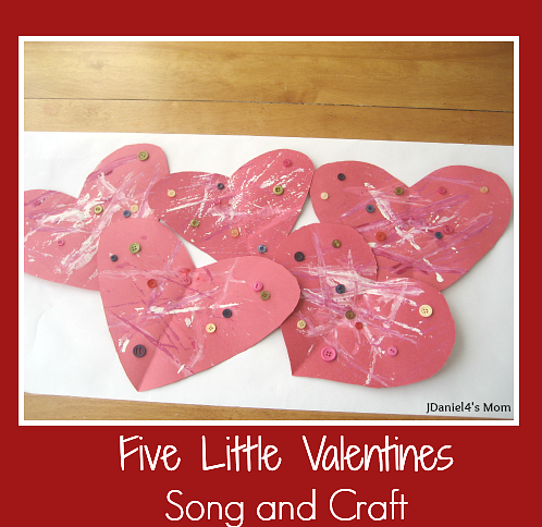 Five Little Valentines Song and Craft