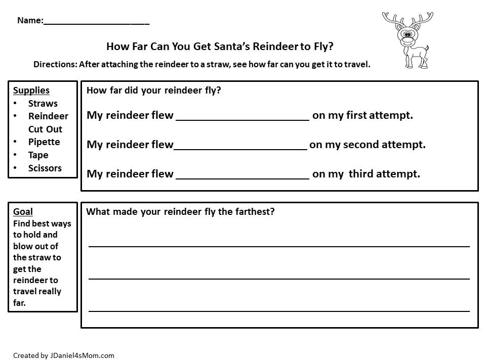 Flying Reindeer STEM Activity- Recording Printable