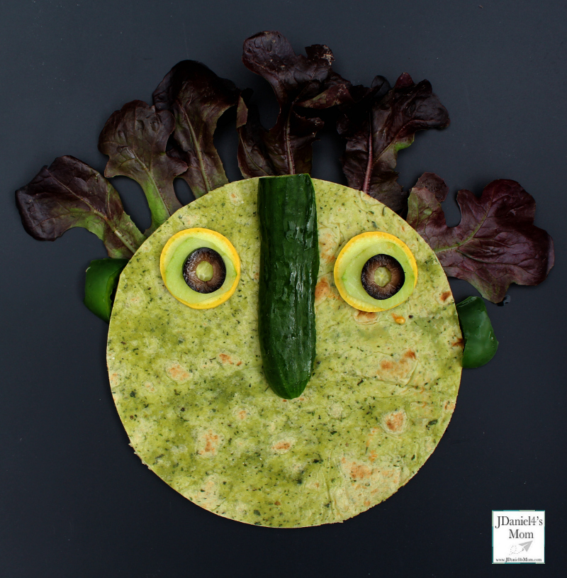 Big Green Monster Healthy Snack Ideas -Adding the Nose and the Eyes to the Snack