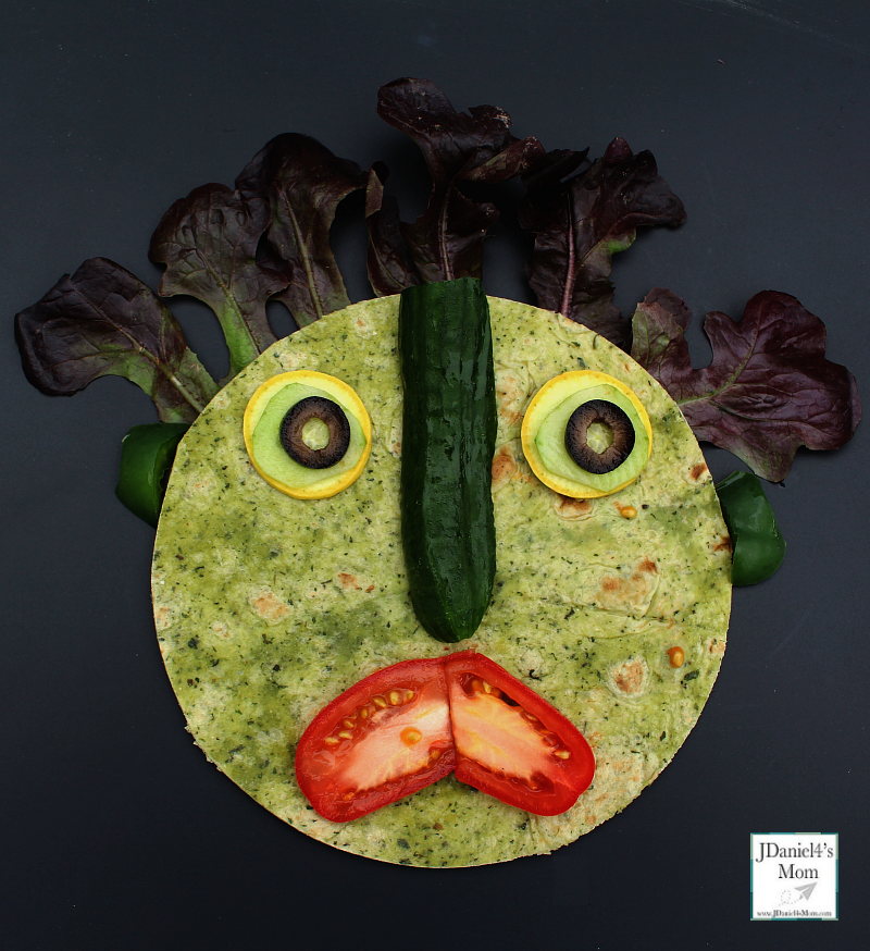 Big Green Monster Healthy Snack Ideas -Adding the mouth the the monster snack