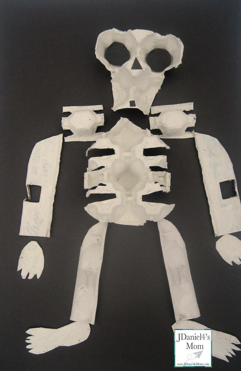 Halloween Crafts - Egg Carton Skeleton and Bone Soup