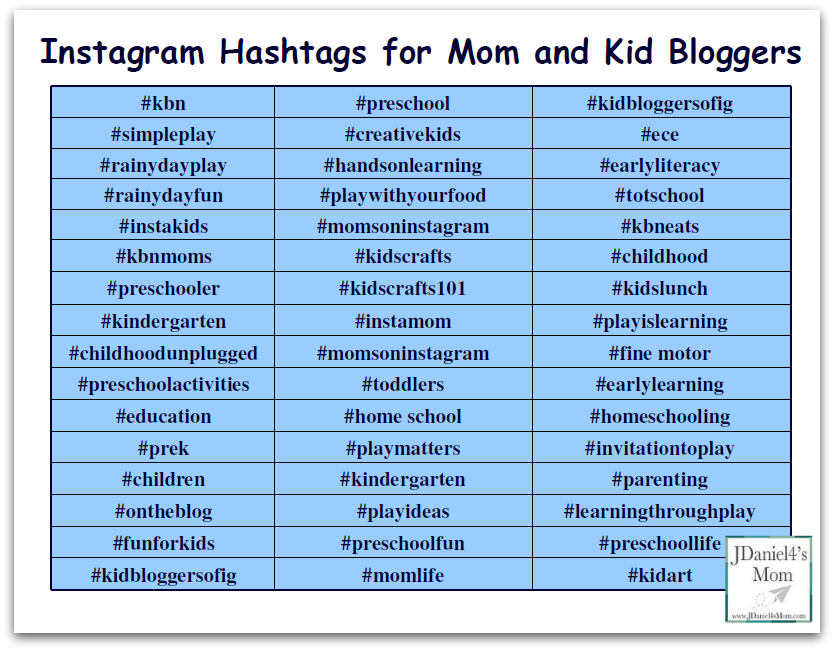 Instagram Hashtags for Mom and Kid Bloggers