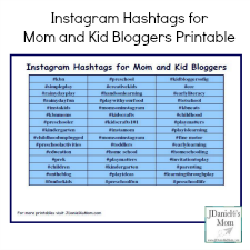 Instagram Hashtags for Mom and Kid Bloggers Printable