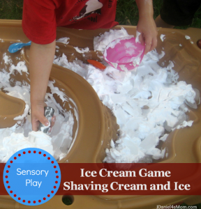 {Preschool Play} Ice Cream Game with Shaving Cream and Ice
