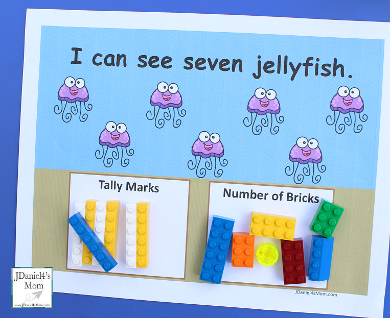 Ocean Themed Counting Worksheets to Use with LEGO- This set includes worksheets for numbers one thru ten for kids to explore. Counting with one to one correspondence and tally marks. This is an example of the counting worksheets.