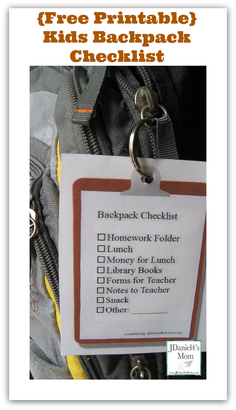 Kids Backpack Checklist