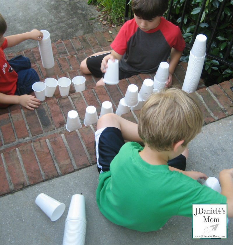 Kids Building with Drinking Cups