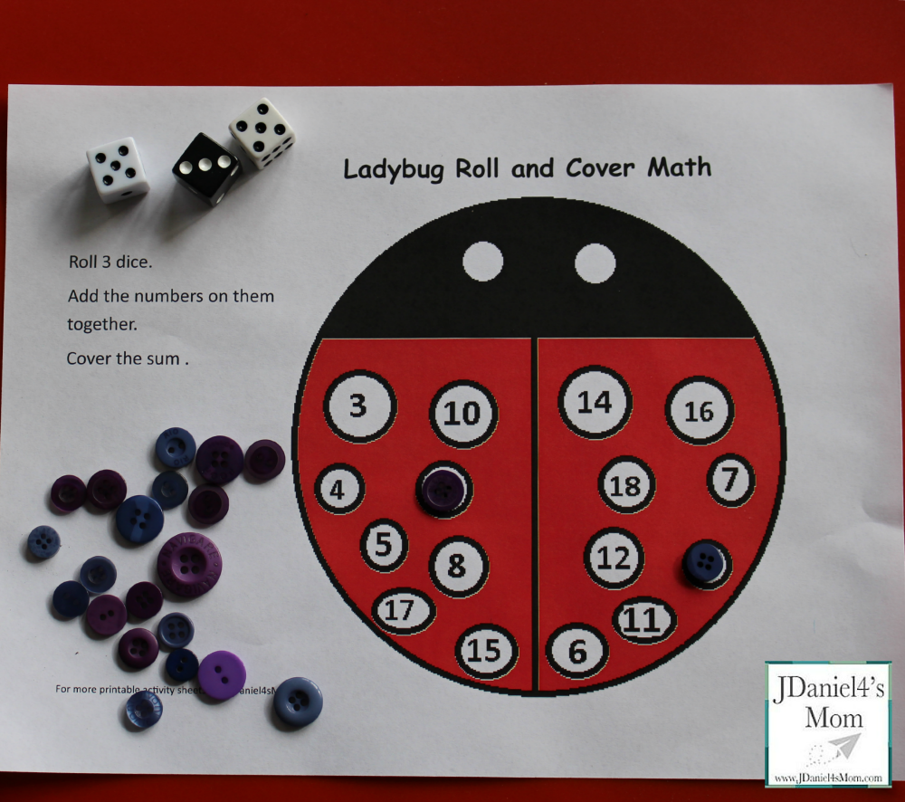 kids math games- ladybug roll and cover math