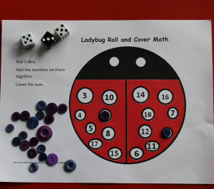 ids math games- ladybug roll and cover math