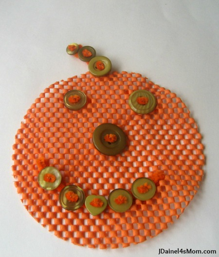 Kindergarten Craft Button Pumpkin