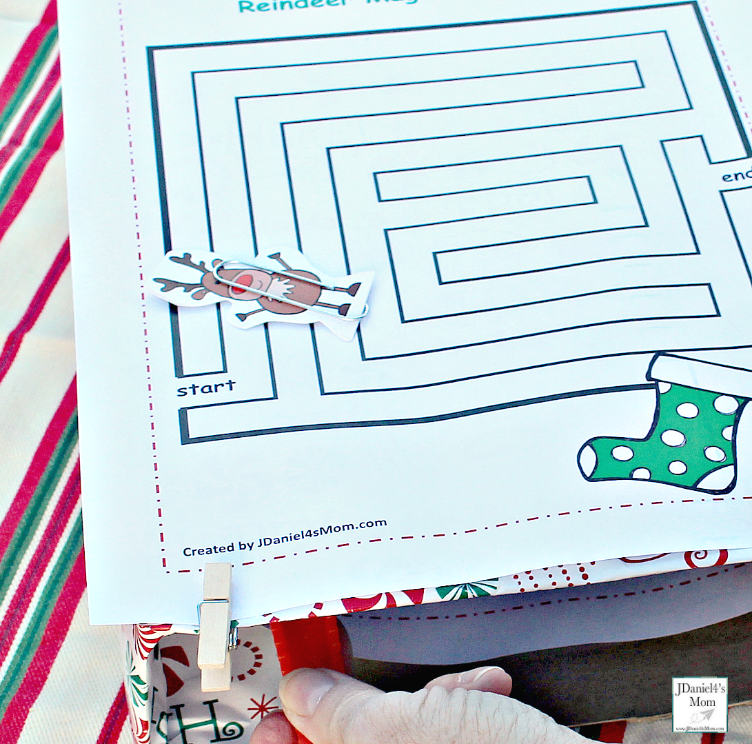 Reindeer Games with Magnets - Moving the reindeer over the maze and the magnet in the box.