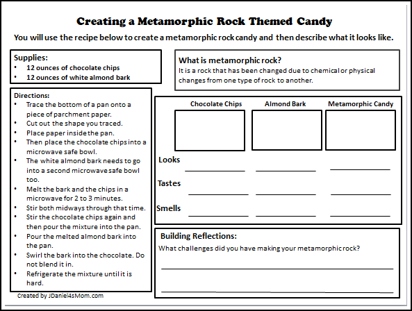Rock Cycle Candy Recipe Making Metamorphic Rock Candy- Printable Recipe and Reflection Sheet