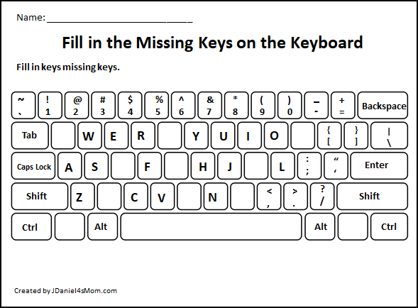 Learning the Computer Keyboard Layout - Fill in the missing letters all over the keyboard.
