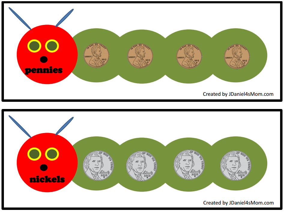 This counting money with caterpillars set would be wonderful to explore after reading the book The Very Hungry Caterpillar. This mats will help your kids explore coins.