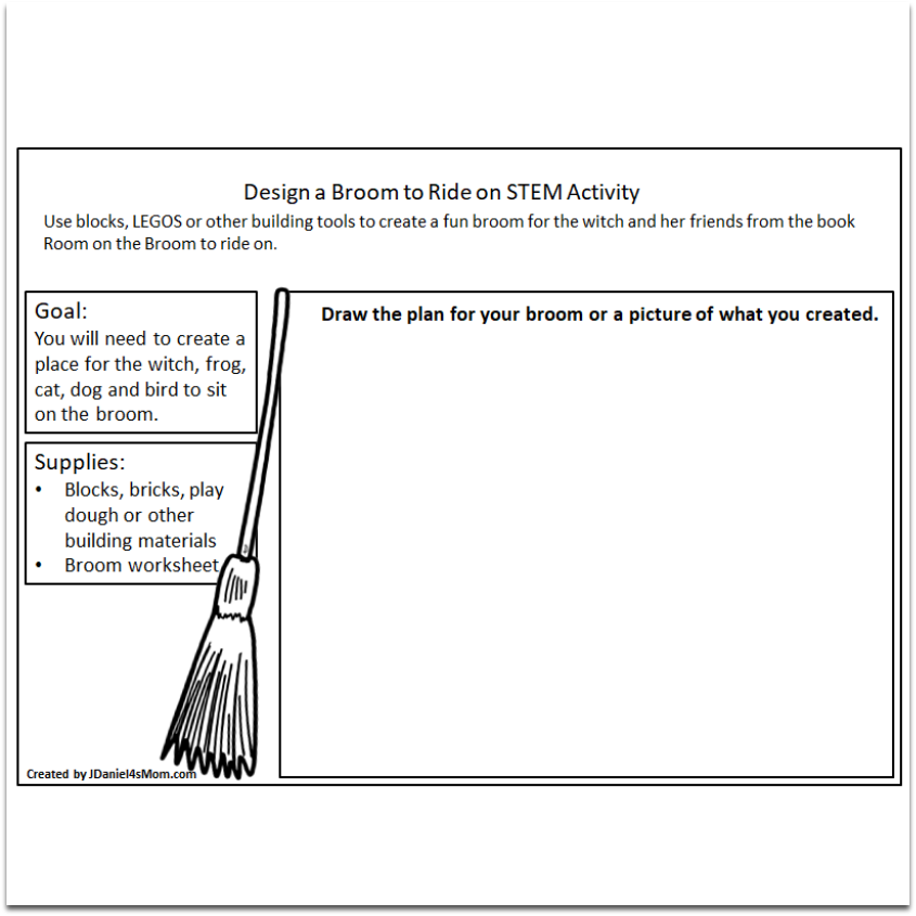 Room on the Broom STEM Building Activity - Planning or Recording Printable