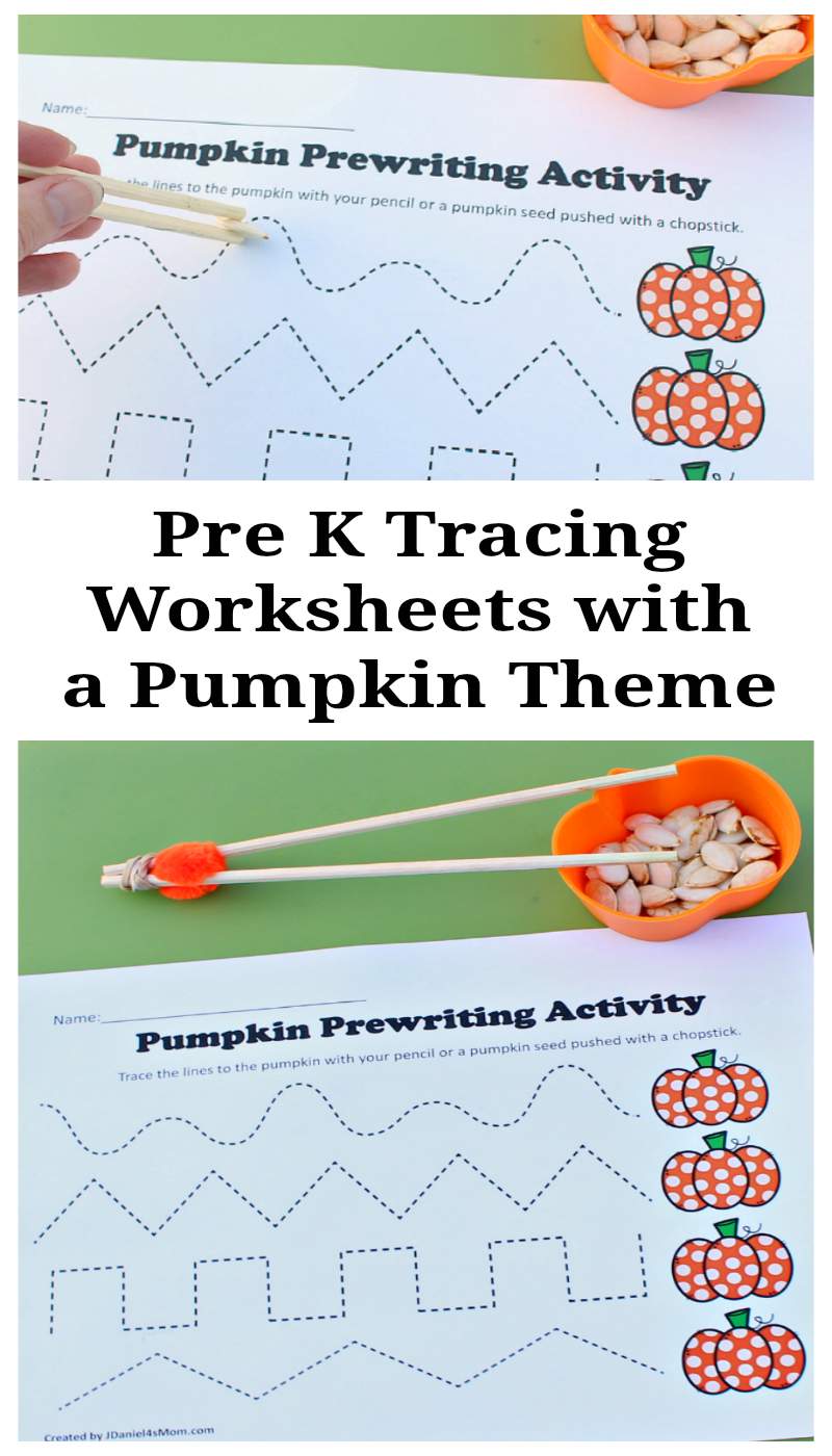 Pre K Tracing Worksheets with a Pumpkin Theme -Your children at home or students at school will have fun working on fine motor skills with this fall themed activity.