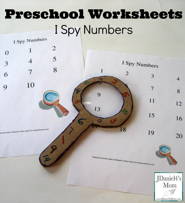 Preschool Worksheets- I Spy Numbers