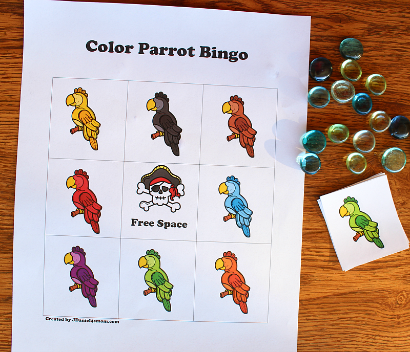 Printable Bingo Cards That Explore Colors with Parrots for Kids - Supplies