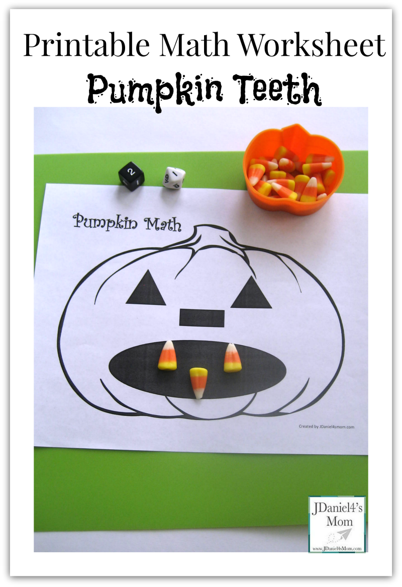 Printable Math Worksheet- Pumpkin Teeth