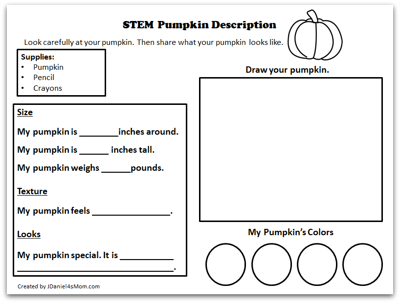 STEM Pumpkin Activity Printable