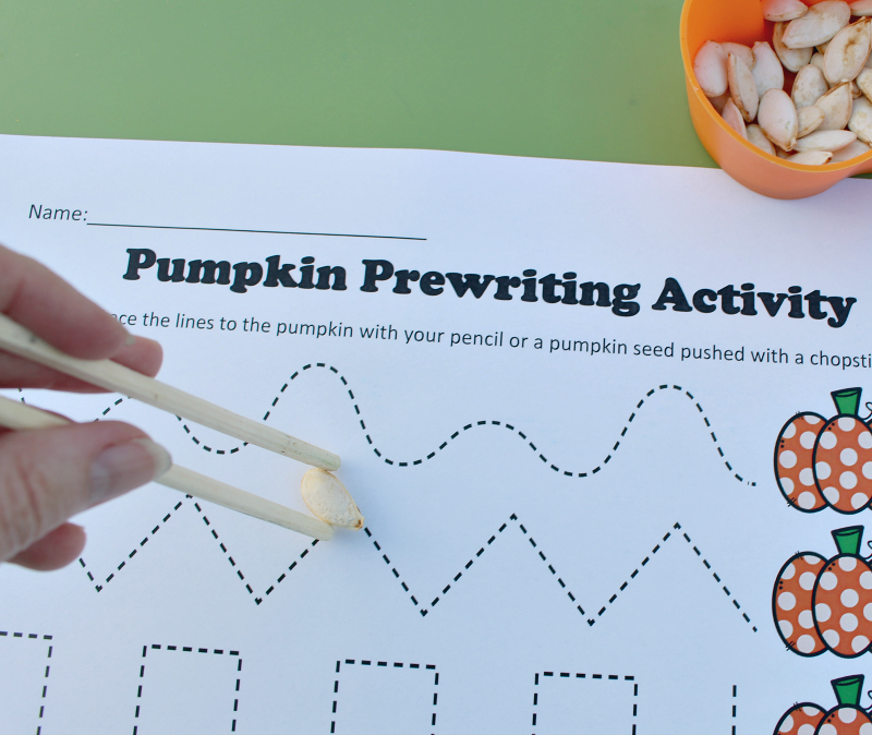 Pre K Tracing Worksheets with a Pumpkin Theme -Here is how to hold the seed horizontally in the chopsticks.